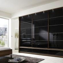 MANHATTAN_16183_11_SWT300cm,H236cm,mSK,Korpus Walnuss-NB,Front Glas schwarz,PP-Rahmen mBel